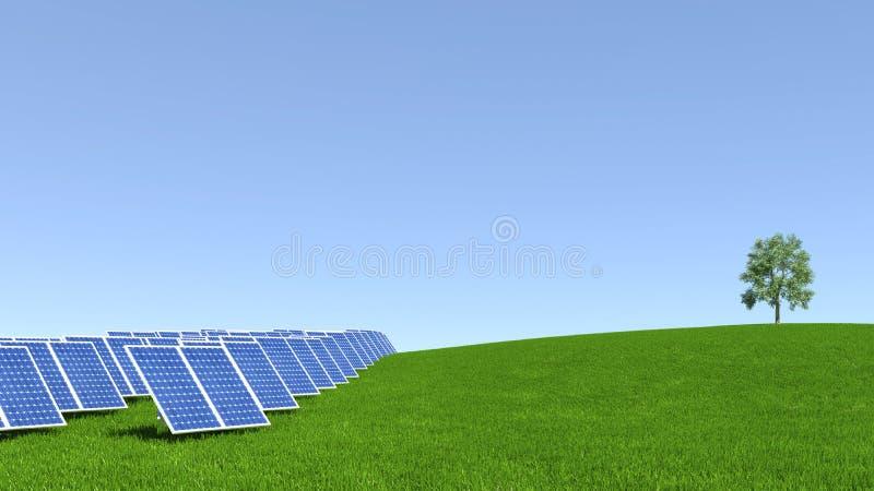 El panel solar con la hierba verde y el cielo azul hermoso stock de ilustración