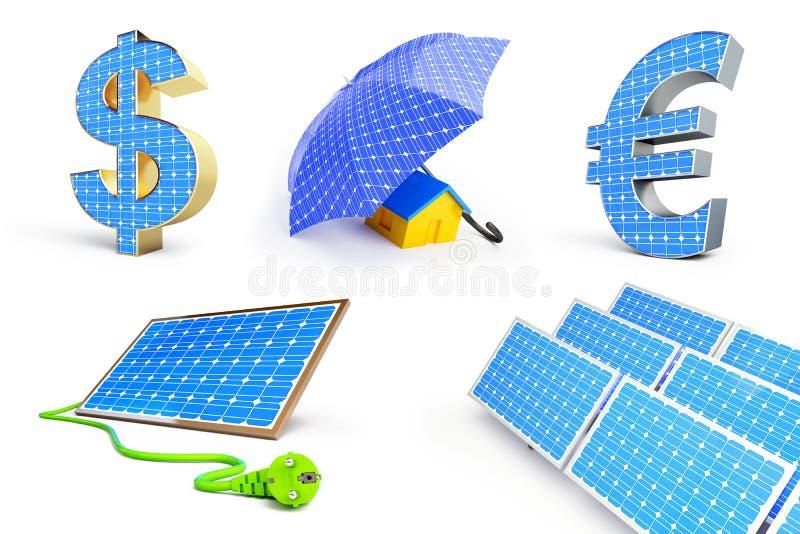 El panel solar fijado en un fondo blanco libre illustration