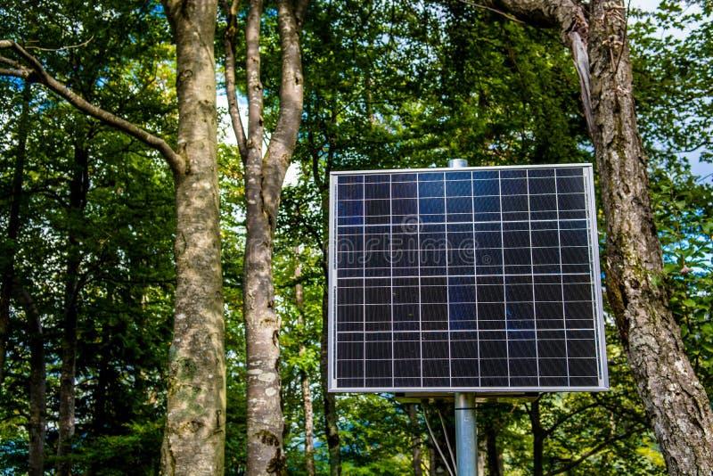El panel solar iluminado por el sol en el bosque imagenes de archivo