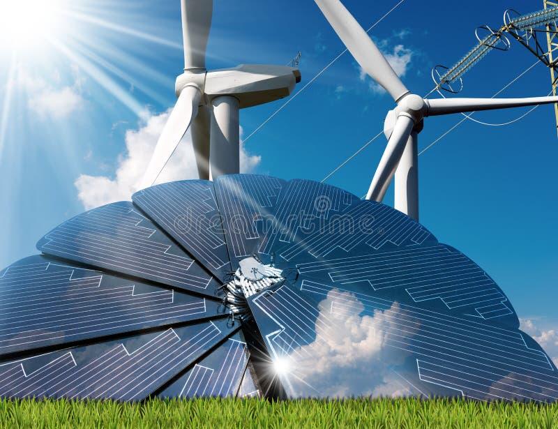 El panel solar - turbinas de viento - línea eléctrica foto de archivo