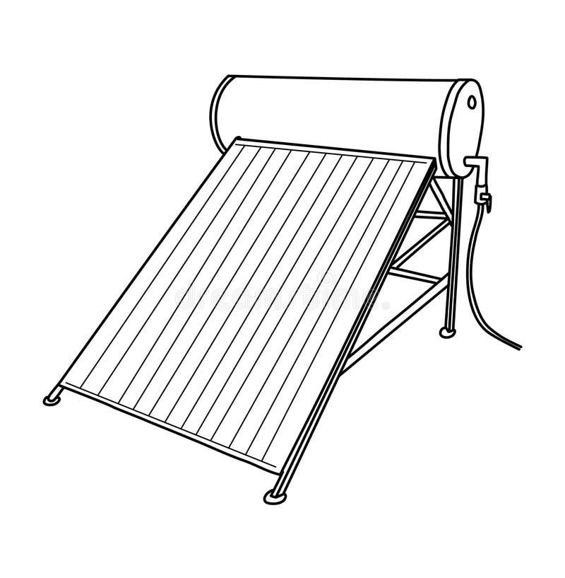Generador Del Panel Solar Y Calentador Solar Stock De
