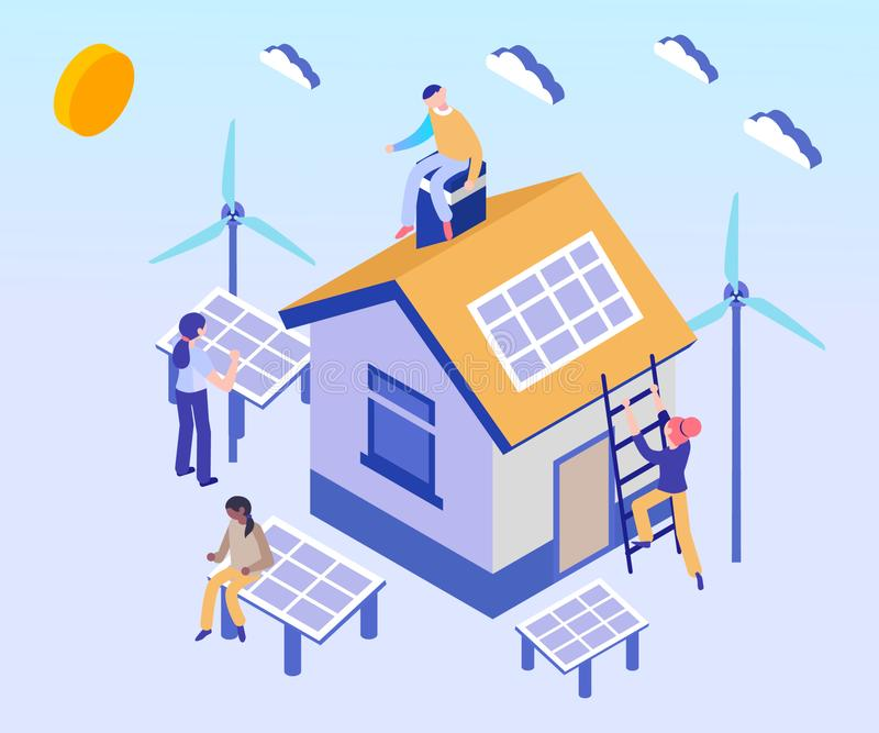 El panel solar utilizado en concepto isométrico de las ilustraciones de las casas stock de ilustración