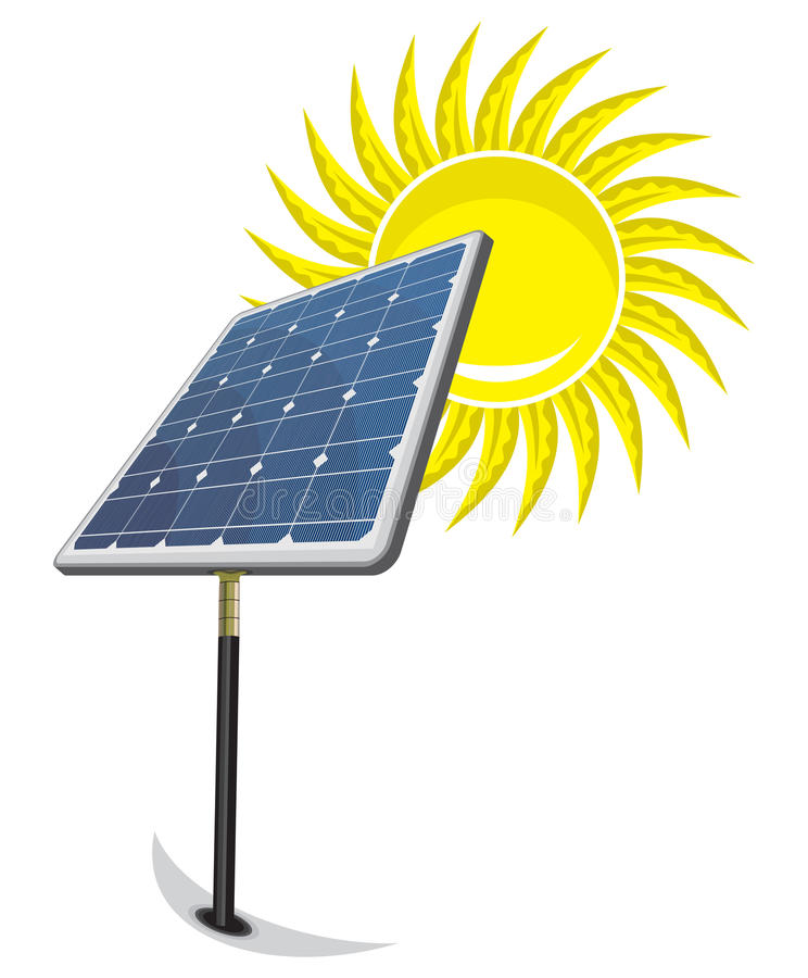 El panel solar y sol libre illustration