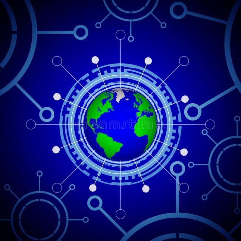 El panel tecnológico de la tierra del planeta ilustración del vector