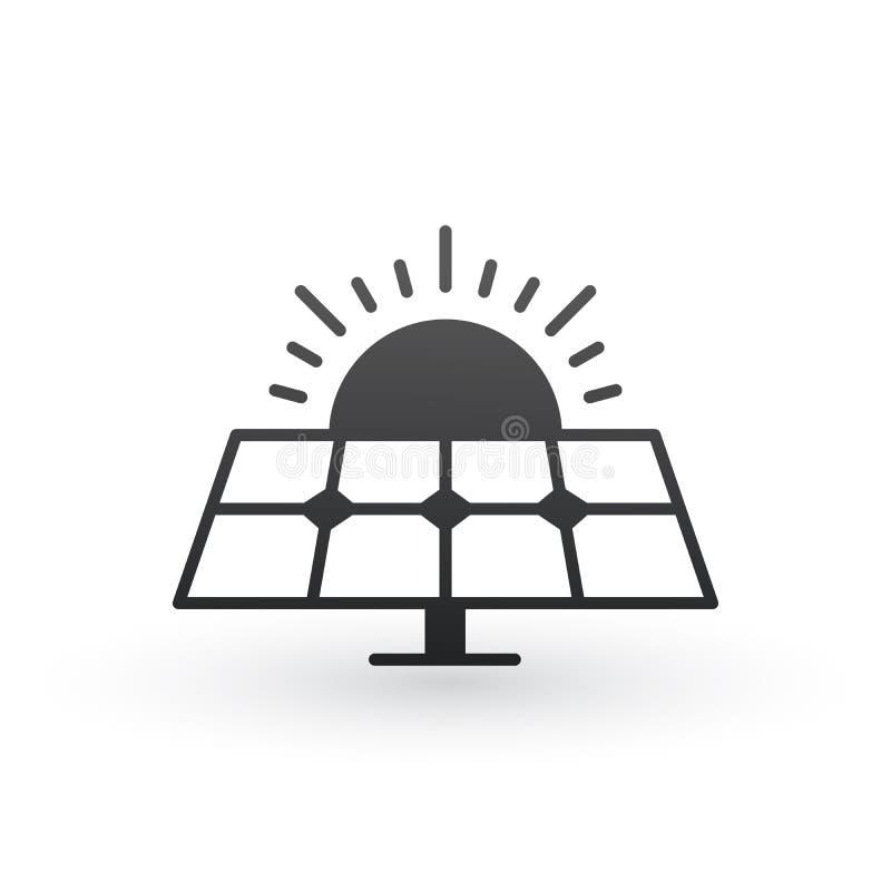 El panel y sol de energía solar Concepto de la ecología tecnología ambiental Ilustración del vector aislada en el fondo blanco ilustración del vector
