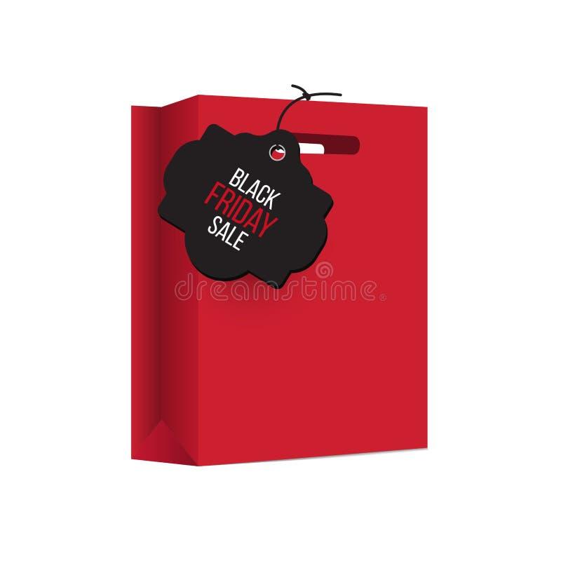 El panier de Black Friday, embala rojo stock de ilustración