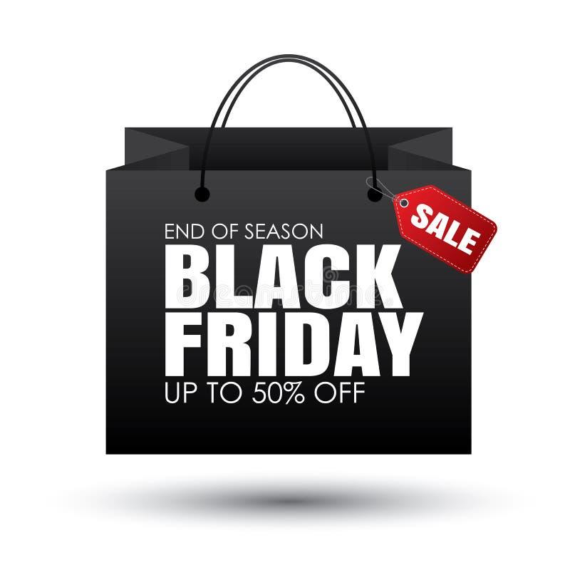 El panier negro y las ventas de viernes marcan con etiqueta en el fondo blanco uso ilustración del vector