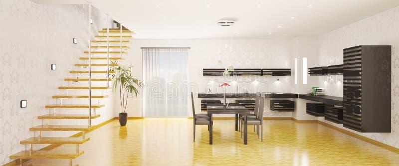 El panorama de la cocina 3d interior rinde stock de ilustración