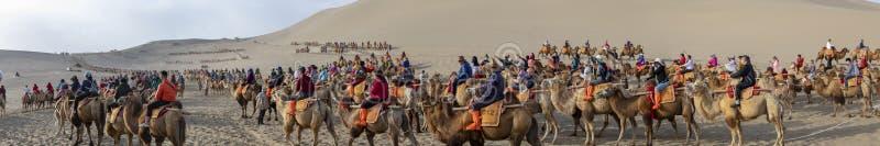 El panorama de muchedumbres en el camello monta, cantando la montaña de la arena, Taklam imagen de archivo