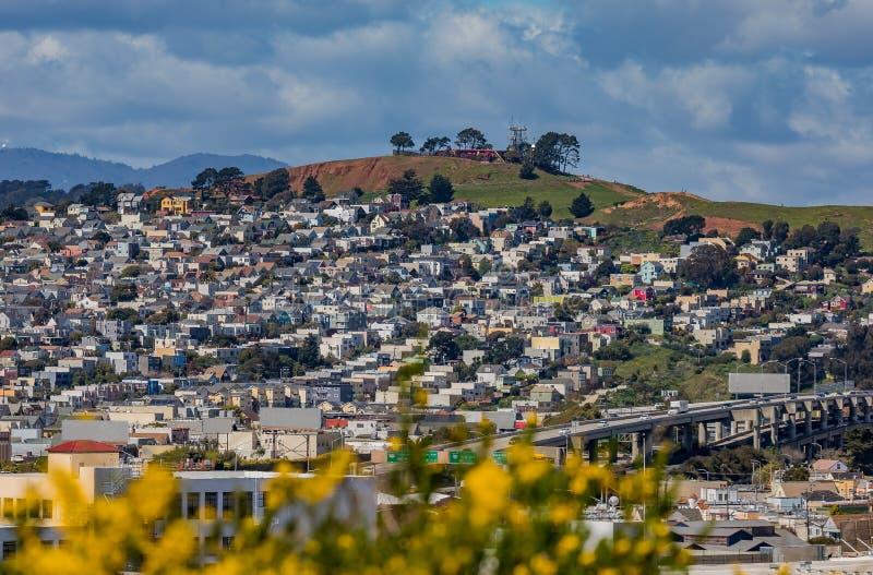 El panorama del horizonte de San Francisco con la floración florece en la delantera foto de archivo