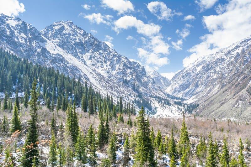 El panorama del paisaje de la montaña del parque nacional del ala-Archa fotos de archivo