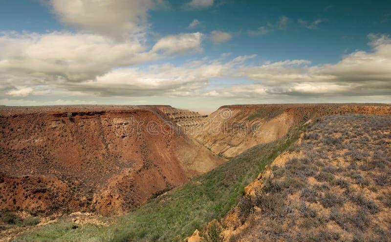 El panorama se inclina meseta Ustyurt imagen de archivo libre de regalías
