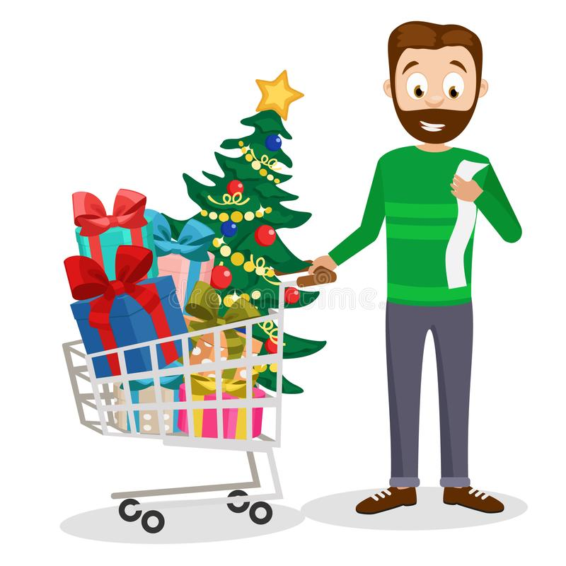El papá compró una carretilla llena de regalos y de un árbol de navidad en un blanco ilustración del vector