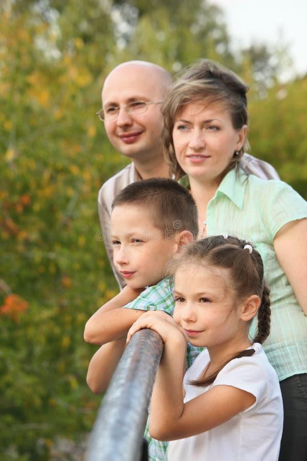 El papá, la mama, el muchacho y la muchacha es codo magro en el puente imagen de archivo