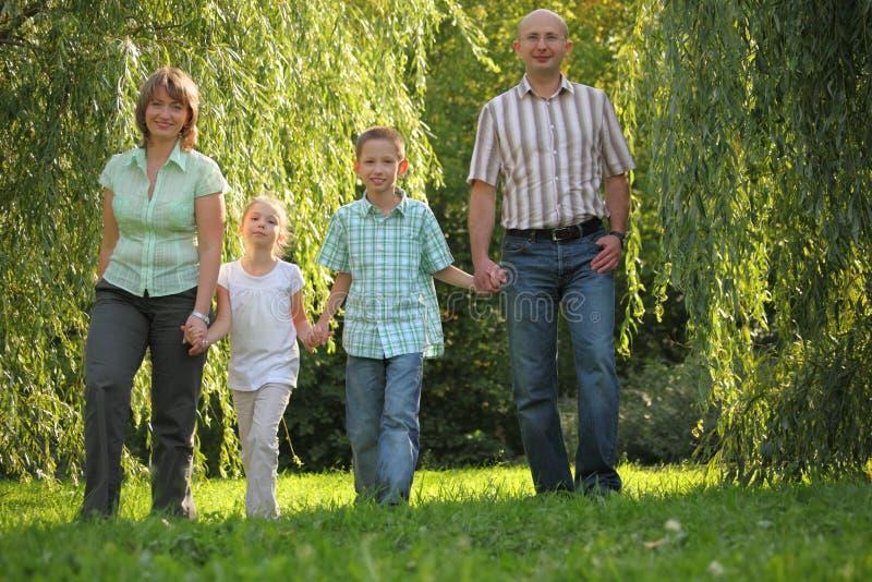 El papá, la mama y los niños está recorriendo en parque de la caída fotos de archivo libres de regalías