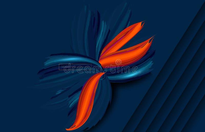 El papel abstracto cort? el fondo azul acodado con capas onduladas Ilustraci?n del vector Plantilla de la disposici?n de la cubie libre illustration