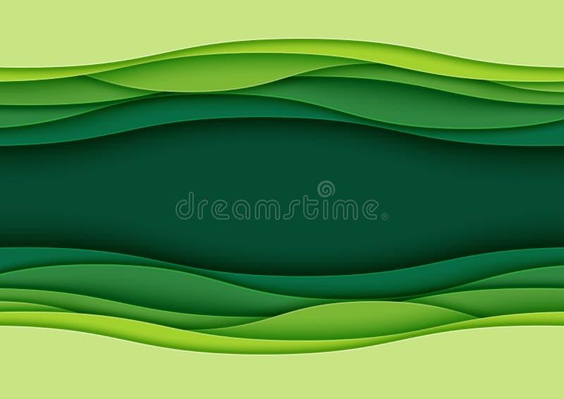 El papel abstracto verde de la capa talla el fondo ilustración del vector