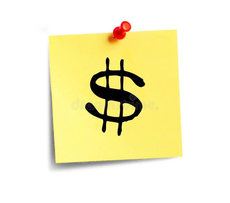 El papel amarillo con la inscripción con una muestra de dólar $ fotos de archivo
