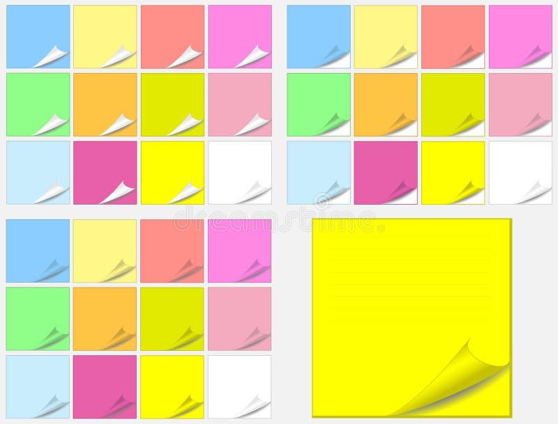 El papel colorido completa etiquetas engomadas ilustración del vector