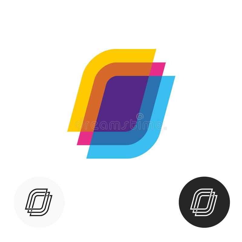 El papel colorido cubre el logotipo Símbolo transparente del estilo de la capa ilustración del vector