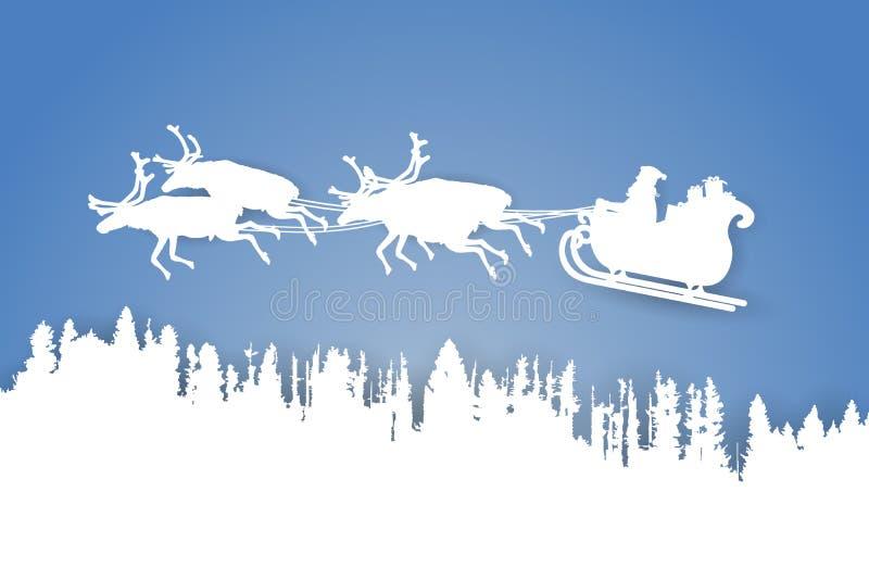 El papel cortó el paisaje del vector del padre Christmas que montaba su trineo con el reno sobre un bosque en fondo azul ilustración del vector