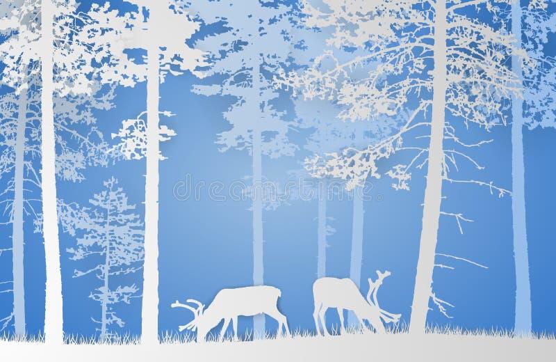 El papel cortó el paisaje del vector del reno en un bosque en fondo azul stock de ilustración