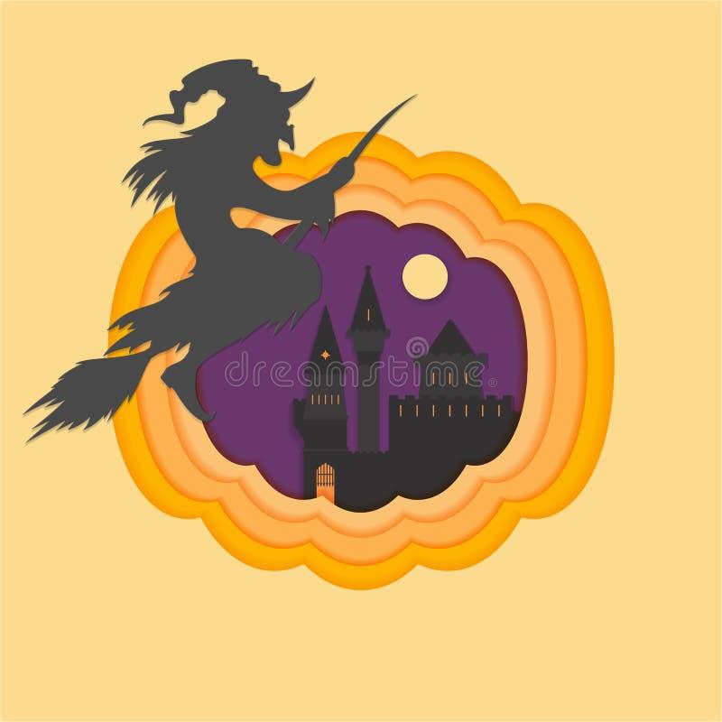 El papel de Helloween cortó el illustraion del vector con el castillo frecuentado y asustadizo stock de ilustración
