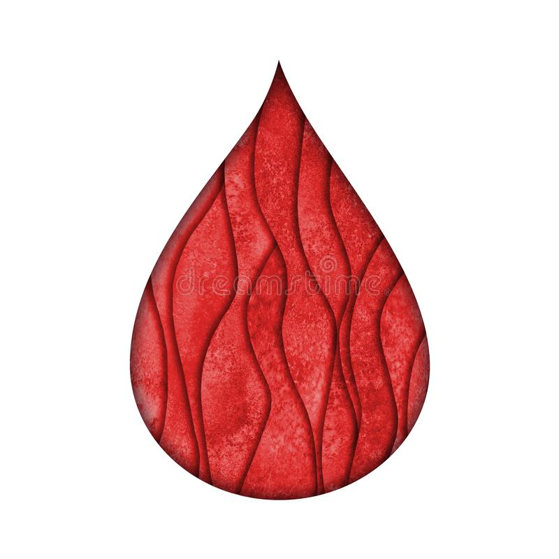 El papel de la forma de la gota de sangre cortó el estilo 3d Símbolo rojo pintado a mano del Watercolour libre illustration