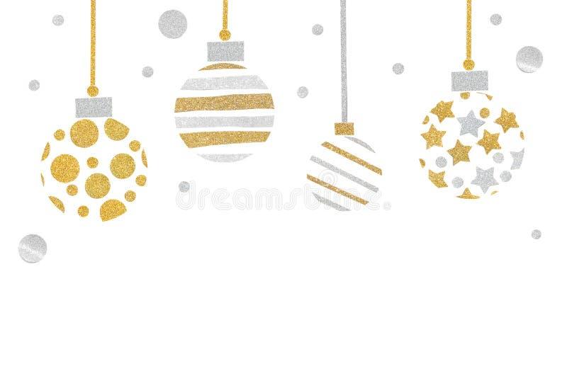 El papel de las bolas de la Navidad del brillo del oro y de la plata cortó en el fondo blanco libre illustration