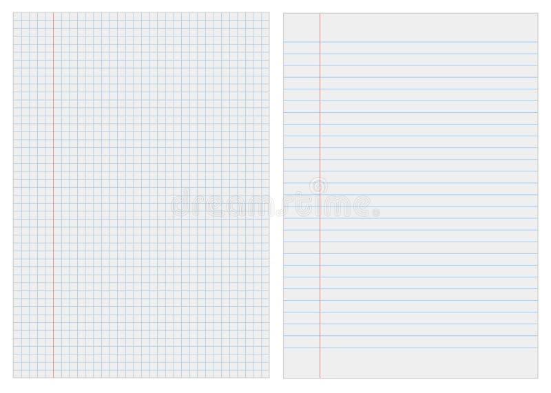 Papel del cuaderno con los cuadrados ilustración del vector
