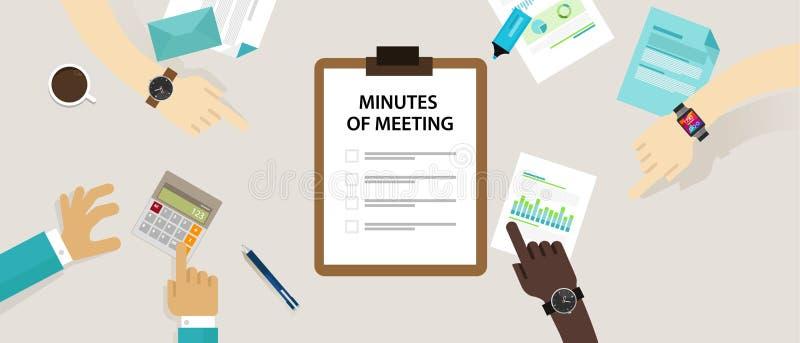 El papel del documento del memorando de la reunión escribe la pluma sobre el resumen de la comunicación en oficina ilustración del vector