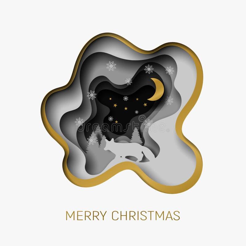 El papel del extracto de la Feliz Navidad 3d cortó el ejemplo del zorro, del árbol, de la nieve, de la luna y de estrellas en la  stock de ilustración