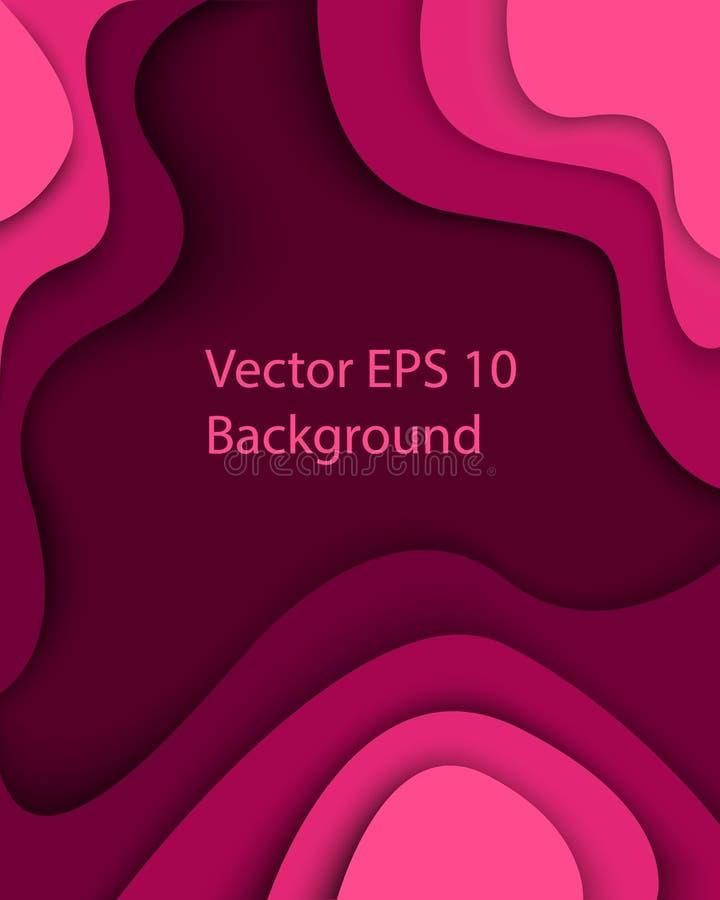 El papel del rosa de la púrpura cortó el fondo abstracto moderno con formas curvadas con las sombras estilo de papel abstracto de ilustración del vector