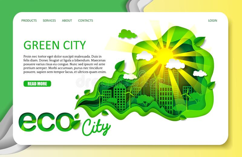 El papel del vector cortó la plantilla verde de la página web de la página del aterrizaje de la ciudad ilustración del vector