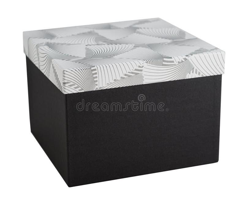 El papel desempaquetado de la decoración de la caja de regalo cerró el presente aislado imagen de archivo libre de regalías