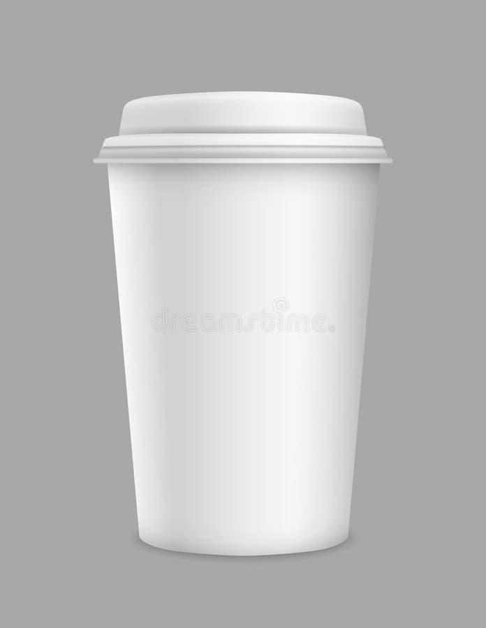 El papel en blanco realista 3d del vector se lleva la taza aislada en fondo gris ilustración del vector