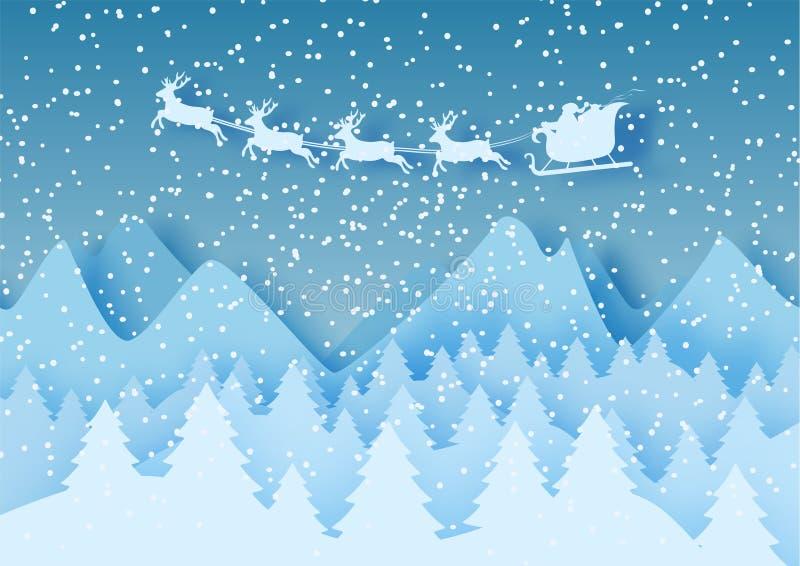 el papel en colores pastel abstracto 3d cortó el ejemplo del paisaje del invierno con las nubes, los pinos, las montañas y Papá N libre illustration