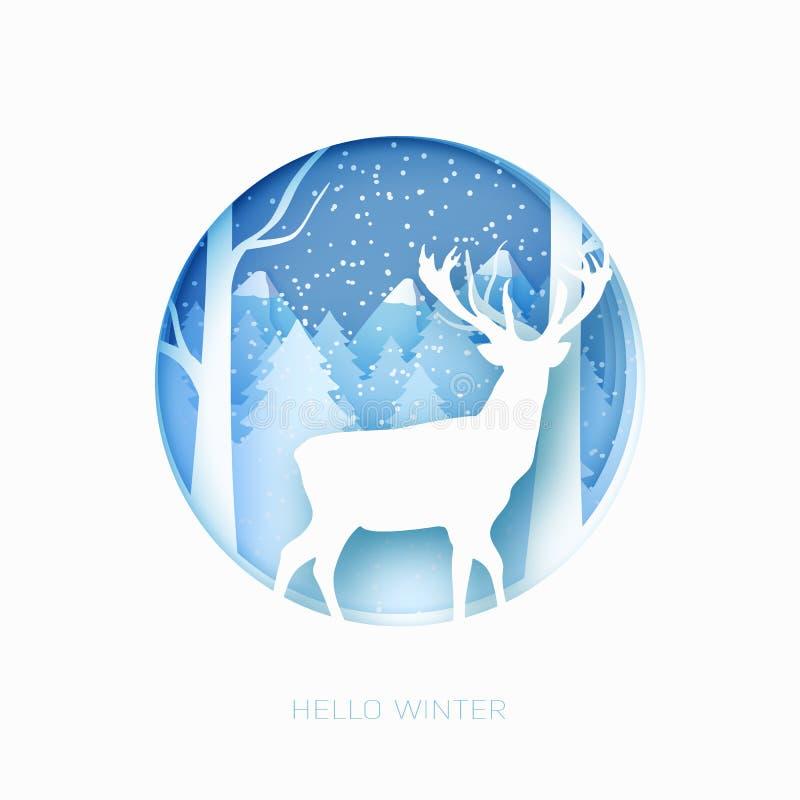 El papel en colores pastel abstracto de la Feliz Navidad 3d cortó el ejemplo de la nieve y los ciervos en el bosque Vector la pla stock de ilustración
