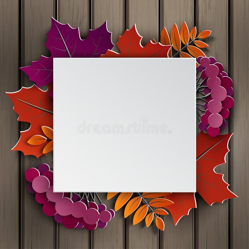 El papel floral del otoño cortó el marco, hojas coloridas del árbol del papel en fondo de madera Diseño otoñal, bandera de la ven stock de ilustración