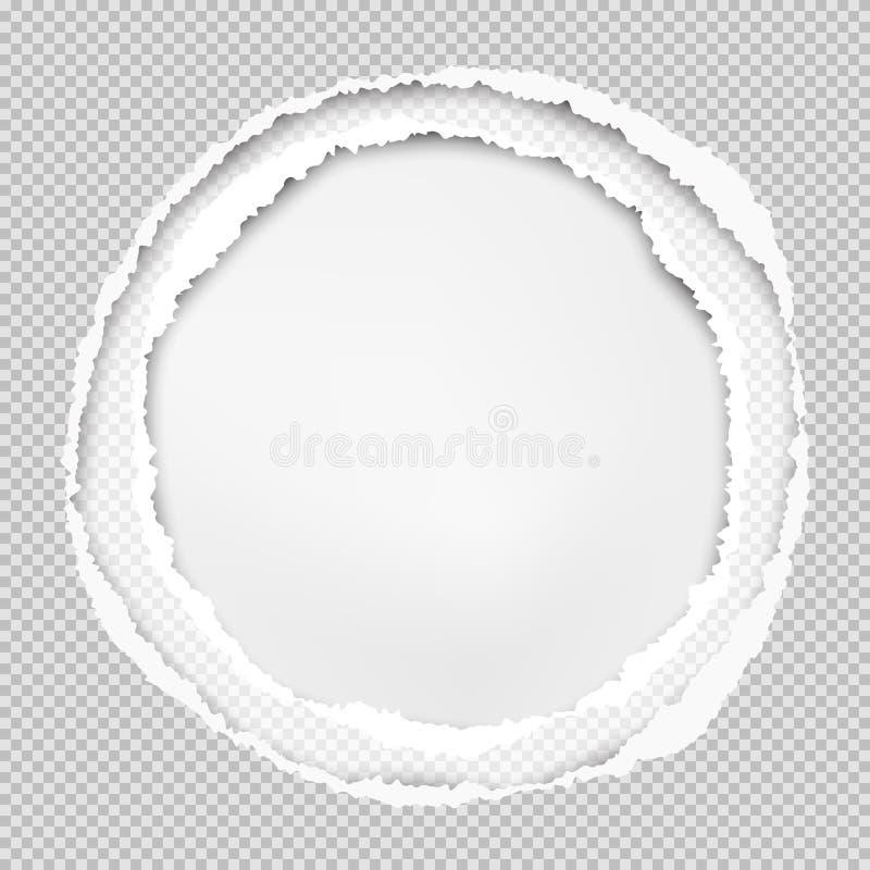 El papel gris ajustado, la composición redonda con los bordes rasgados y la sombra suave están en el fondo blanco Ilustración del ilustración del vector