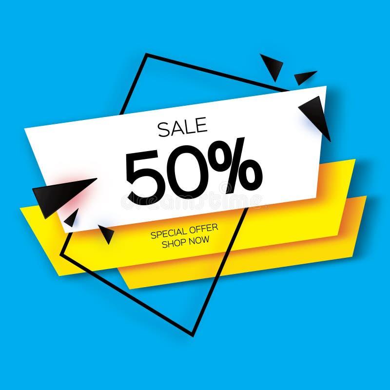 El papel moderno cortó la bandera geométrica de la venta, oferta especial, el 50 por ciento de descuento Temlate de moda de la et ilustración del vector