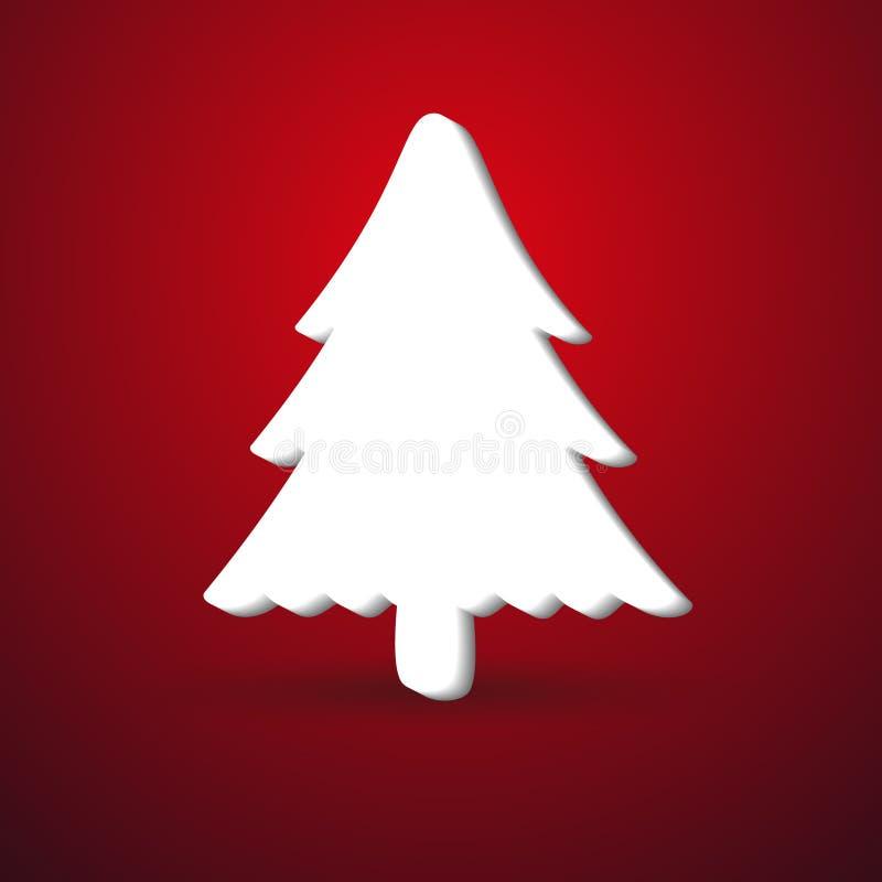 El papel moderno del árbol del invierno de la Navidad le gusta símbolo en el fondo rojo eps10 stock de ilustración