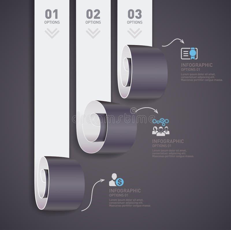 El papel moderno rueda vector infographic del concepto ilustración del vector