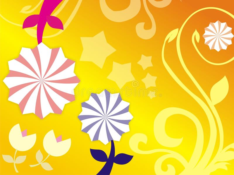 El papel pintado amarillo de la flor de papel imagen de archivo libre de regalías