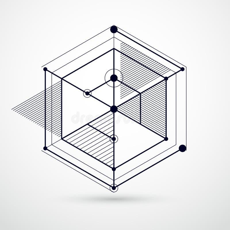 El papel pintado blanco y negro del vector de la tecnología de la ingeniería hizo ingenio ilustración del vector