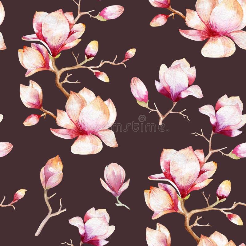 El papel pintado inconsútil de la acuarela con la magnolia florece, las hojas ilustración del vector