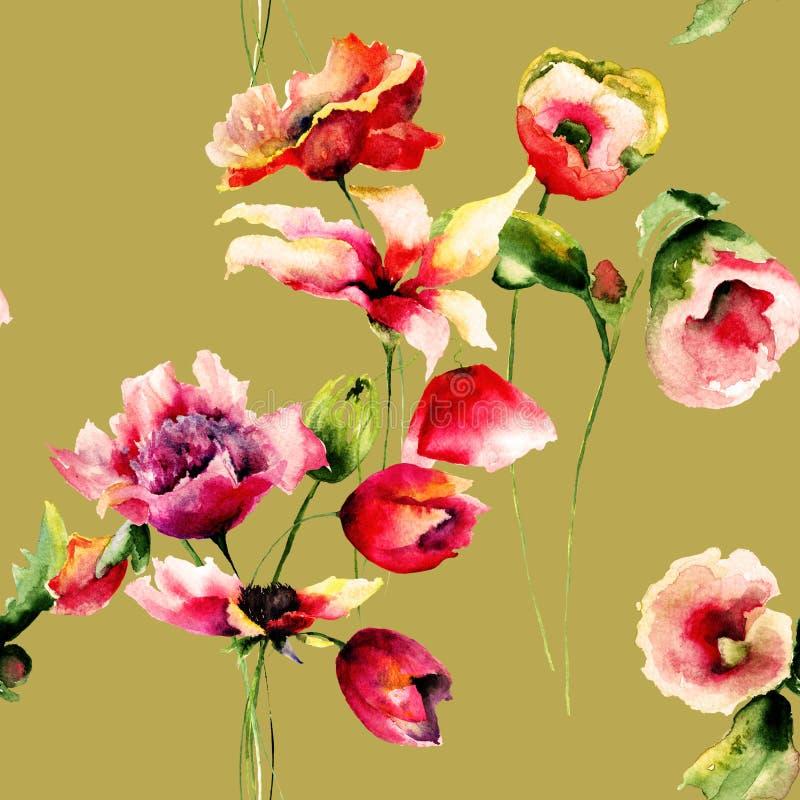 El papel pintado inconsútil floral con el lirio, las amapolas y los tulipanes florece ilustración del vector