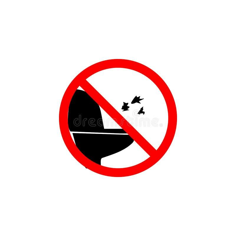 El papel que lanza prohibido al icono del retrete en el fondo blanco se puede utilizar para la web, logotipo, app móvil, UI UX ilustración del vector