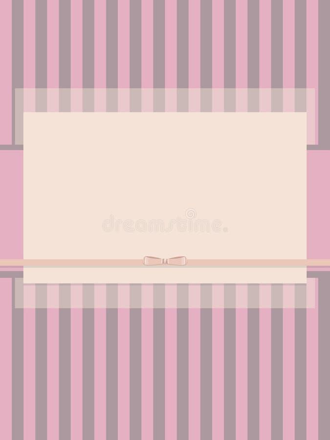 El papel rayado ligero rosado friega con el arco de la cinta de satén y de la postal semitransparente de la capa ilustración del vector