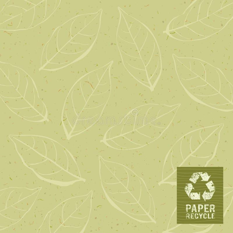 El papel recicla en fondo del diseño de la hoja stock de ilustración